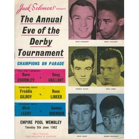 DAVE CHARNLEY V DOUG VAILLANT 1962 BOXING PROGRAMME