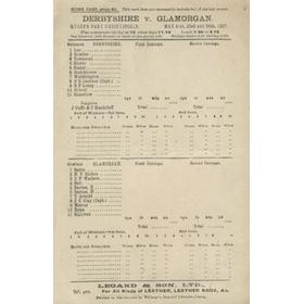 DERBYSHIRE V GLAMORGAN 1927 CRICKET SCORECARD