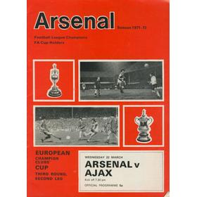 ARSENAL V AJAX 1972 (EUROPEAN CUP) FOOTBALL PROGRAMME