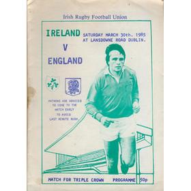 "IRELAND V ENGLAND 1985 ""PIRATE"" RUGBY PROGRAMME (IRELAND TRIPLE CROWN SEASON)"