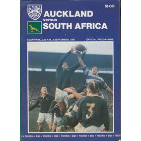 AUCKLAND V SOUTH AFRICA 1981 RUGBY PROGRAMME