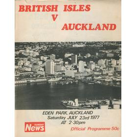 AUCKLAND V BRITISH ISLES 1977 RUGBY PROGRAMME