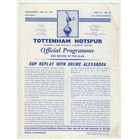 TOTTENHAM HOTSPUR V CREWE ALEXANDRA 1959-60 (FA CUP REPLAY) FOOTBALL PROGRAMME - SPURS WIN 13-2