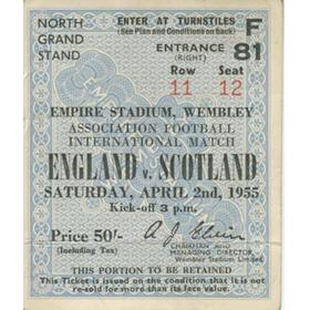ENGLAND V SCOTLAND 1955 FOOTBALL TICKET