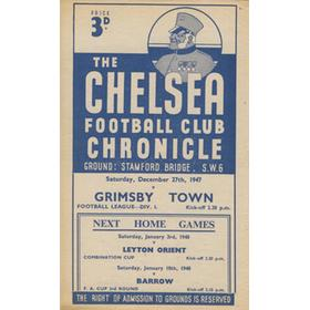 CHELSEA V GRIMSBY TOWN 1947-48 FOOTBALL PROGRAMME