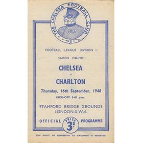 CHELSEA V CHARLTON ATHLETIC 1948-49 FOOTBALL PROGRAMME