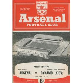 ARSENAL V DYNAMO KIEV 1961-62 FOOTBALL PROGRAMME