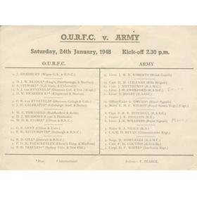 OXFORD UNIVERSITY V THE ARMY 1948 RUGBY PROGRAMME
