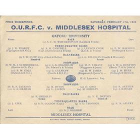 OXFORD UNIVERSITY V MIDDLESEX HOSPITAL 1945 RUGBY PROGRAMME