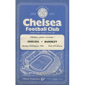CHELSEA V BURNLEY 1954-55 (CHAMPIONSHIP SEASON) FOOTBALL PROGRAMME