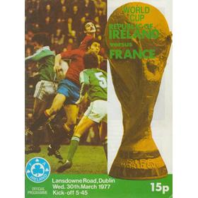 REPUBLIC OF IRELAND V FRANCE 1977 FOOTBALL PROGRAMME