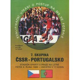 CZECHOSLOVAKIA V PORTUGAL 1989 FOOTBALL PROGRAMME