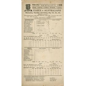 ESSEX V AUSTRALIANS 1930 CRICKET SCORECARD