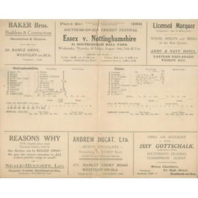 ESSEX V NOTTINGHAMSHIRE 1931 CRICKET SCORECARD