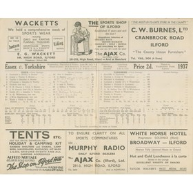 ESSEX V YORKSHIRE 1937 CRICKET SCORECARD