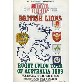 AUSTRALIA V BRITISH LIONS (FIRST TEST) 1989 RUGBY PROGRAMME