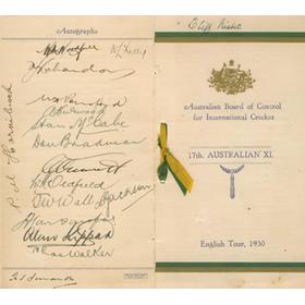 AUSTRALIA 1930 SIGNED TOUR ITINERARY
