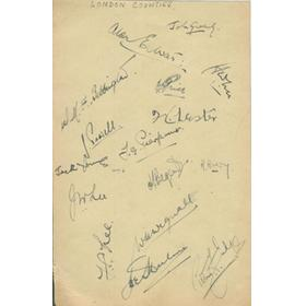 LONDON COUNTIES 1943 signed album page