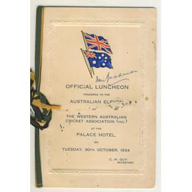 AUSTRALIA 1934 SIGNED LUNCHEON MENU
