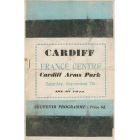 CARDIFF V FRANCE CENTRE 1957 RUGBY PROGRAMME
