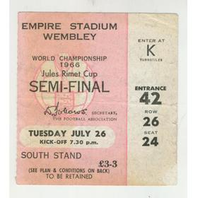ENGLAND V PORTUGAL 1966 WORLD CUP SEMI-FINAL FOOTBALL TICKET