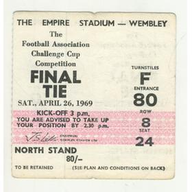 MANCHESTER CITY V LEICESTER CITY 1969 F.A. CUP FINAL FOOTBALL TICKET