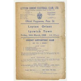 LEYTON ORIENT V IPSWICH TOWN 1948 FOOTBALL PROGRAMME