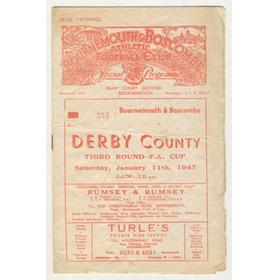 BOURNEMOUTH & BOSCOMBE V DERBY COUNTY 1947 FOOTBALL PROGRAMME
