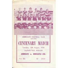 ARBROATH V NEWCASTLE UNITED 1978 FOOTBALL PROGRAMME