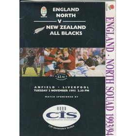 ENGLAND NORTH V NEW ZEALAND 1993 RUGBY PROGRAMME