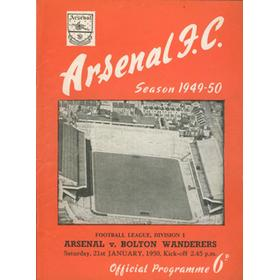 ARSENAL V BOLTON WANDERERS 1949-50 FOOTBALL PROGRAMME