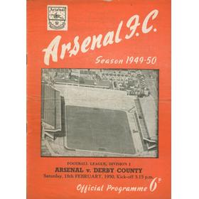 ARSENAL V DERBY COUNTY 1949-50 FOOTBALL PROGRAMME