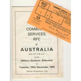 COMBINED SERVICES V AUSTRALIA 1981 RUGBY PROGRAMME