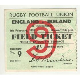 ENGLAND V IRELAND 1958 RUGBY TICKET