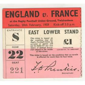 ENGLAND V FRANCE 1959 RUGBY TICKET