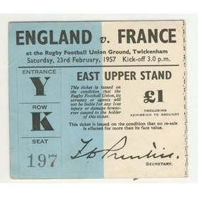 ENGLAND V FRANCE 1957 RUGBY TICKET