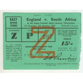 ENGLAND V SOUTH AFRICA 1952 RUGBY TICKET