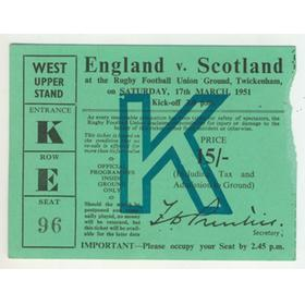 ENGLAND V SCOTLAND 1951 RUGBY TICKET