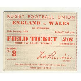 ENGLAND V WALES 1954 RUGBY TICKET