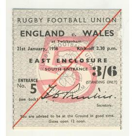 ENGLAND V WALES 1956 RUGBY TICKET