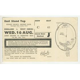 ENGLAND V WEST INDIES 1950 (OVAL) TICKET