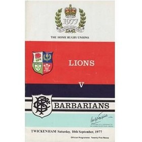BARBARIANS V BRITISH LIONS 1977 RUGBY PROGRAMME