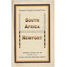 NEWPORT V SOUTH AFRICA 1951/52 RUGBY PROGRAMME