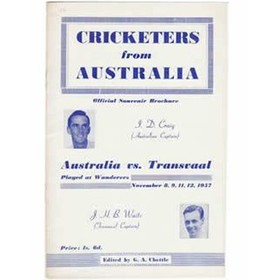 CRICKETERS FROM AUSTRALIA (TRANSVAAL EDITION); OFFICIAL SOUVENIR BROCHURE ...