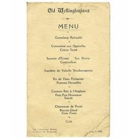 CAMBRIDGE OLD WELLINGTONIANS 1920 SIGNED MENU