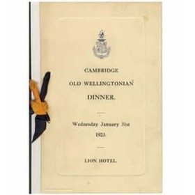 CAMBRIDGE OLD WELLINGTONIANS 1923 SIGNED MENU