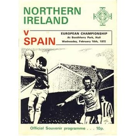 NORTHERN IRELAND V SPAIN 1972 (EUROPEAN CHAMPIONSHIPS) FOOTBALL PROGRAMME