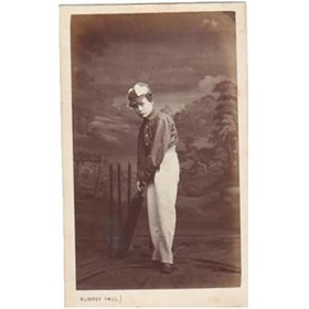 BOY WITH CRICKET BAT 1860S PHOTOGRAPH