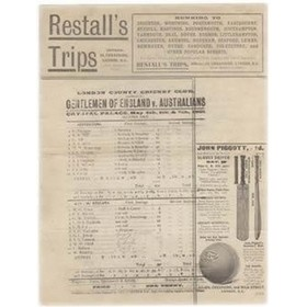 GENTLEMEN OF ENGLAND V AUSTRALIANS 1905 CRICKET SCORECARD