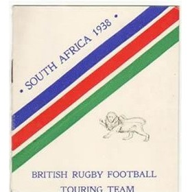 BRITISH LIONS TOUR TO SOUTH AFRICA 1938 FIXTURE CARD